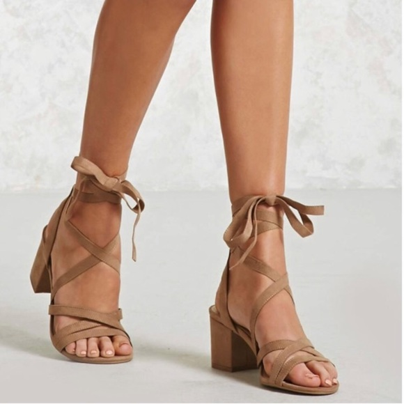 41dd3f9a32a Forever 21 Shoes - •Taupe Strappy Lace Up Block Heel Sandals•